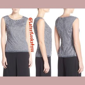 NEW Adrianna Papell Pearl Embellished Top 12 14